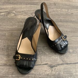 Michael Korda Black Leather Upper Sole Sz 8